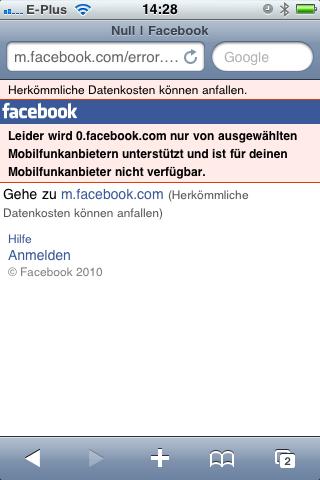 Kein facebook für eplus-Kunden