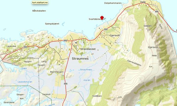 Die Umgebung von Straumnes auf Norgeskart