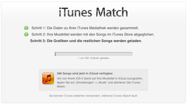 iTunes lädt gematchte Songs