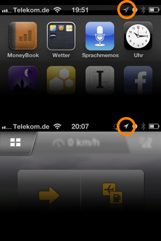 IPhone mit GPS im Hintergrund