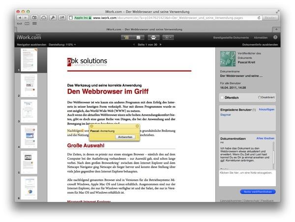 Ein Textdokument mit Anmerkungen in iWork