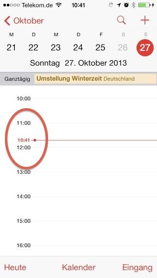 Zeitumstellung im iOS-Kalender Oktober 2013